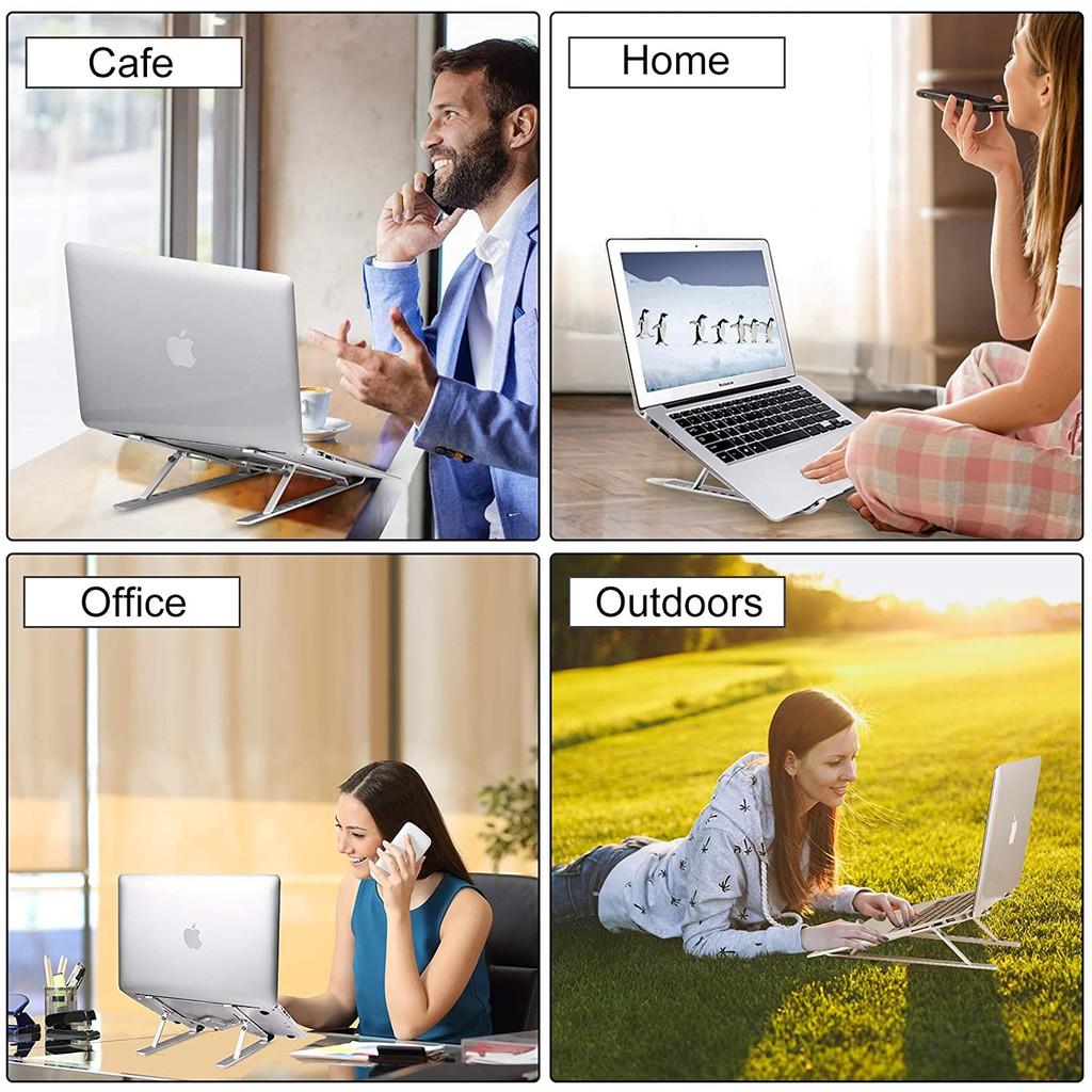 Laptop Stand, Portable, Aluminum Adjustable Desktop Holder Ergonomic Foldable Notebook compatible with laptops-Tablets