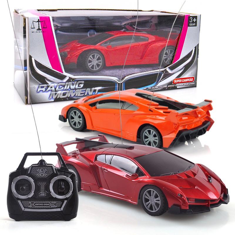 Orange Remote Control Transforming Robot Race Car w// Light /& Engine Sound