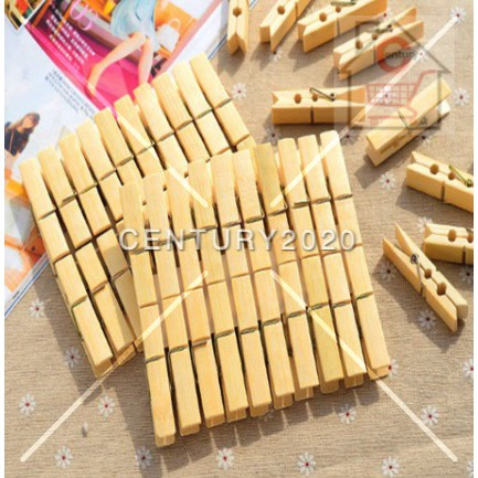 Bamboo Pegs Small Clothes Clip Multifunctional Clothes Clip Windproof Clip Wood Clip Clothespin Sunshine Clip Peg 20PCS