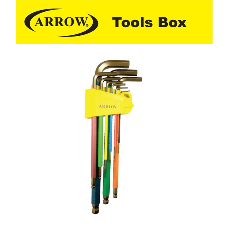 ARROW A63000 9 PIECES EXTRA LONG BALL POINT HEX ANTI SLIP COLOR EASY USE SAFETY GOOD QUALITY