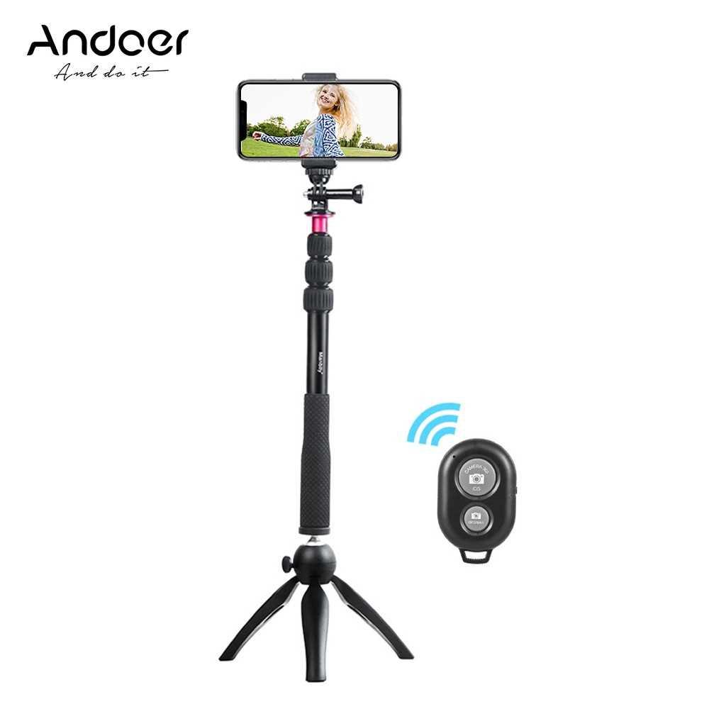 Andoer Selfie Stick + Mini Tripod + Phone Tripod Mount + Wireless Remote Control (Black)