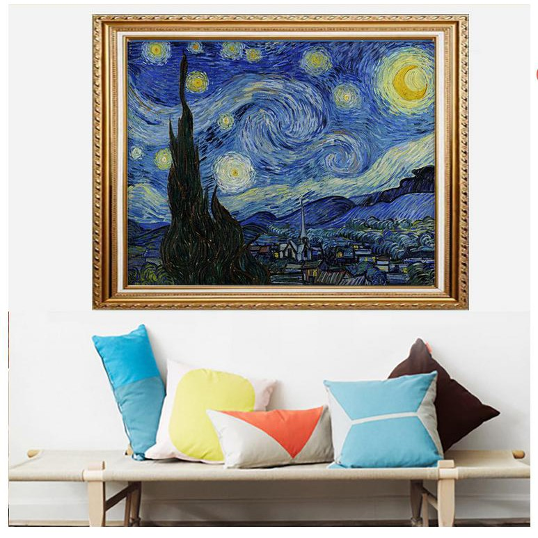 Vincent Van Gogh Starry Night Wall Picture Cherry Framed Art Print