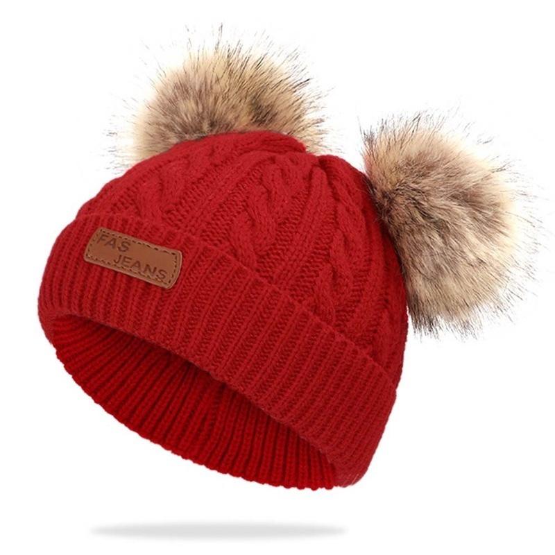 Newborn Kid Baby Boys Girls Fur Pom Hat Winter Warm Knit Bobble Beanie Cap Scarf