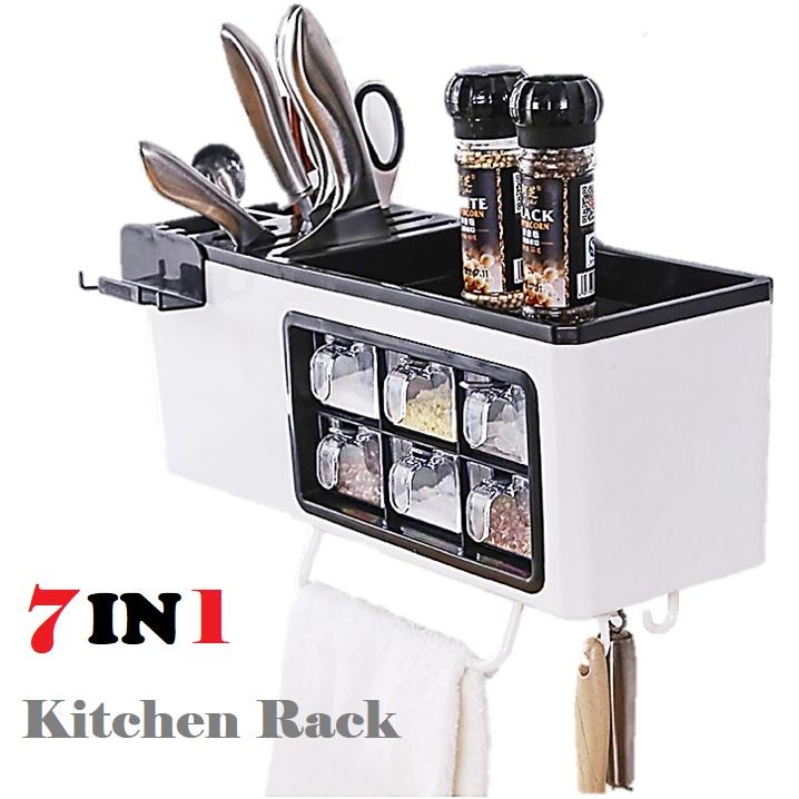 7 IN 1 Wall Mount Spice Rack Organiser Salt Jar Condiment Canister Cutlery Phone Holder Storage Box + Hanger