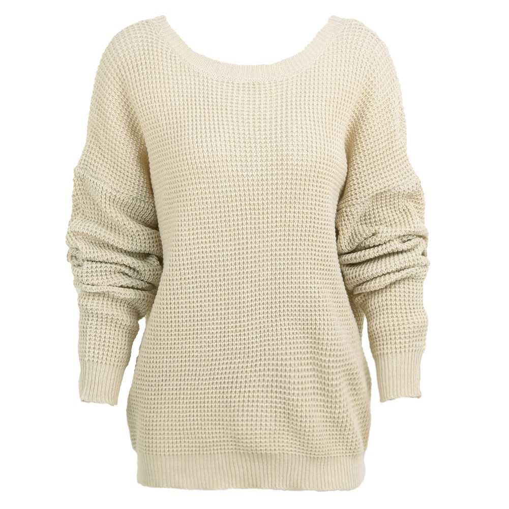 Women Knitted Loose Sweater Solid V Back Bandage Cross Over Hollow Out Long Sleeve Casual Jumper (Camel)
