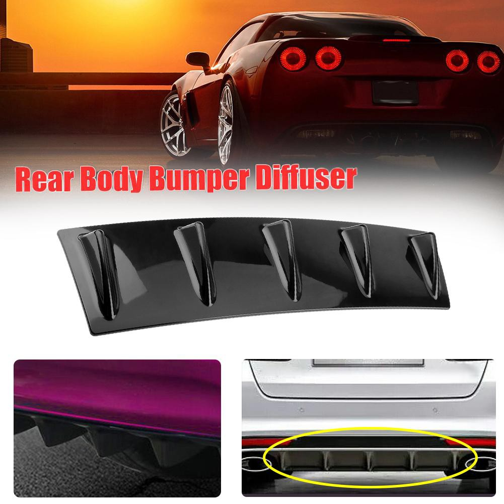 Universal Lower Rear Body Bumper Lip Diffuser Shark Fin Spoiler ABS Gloss Black