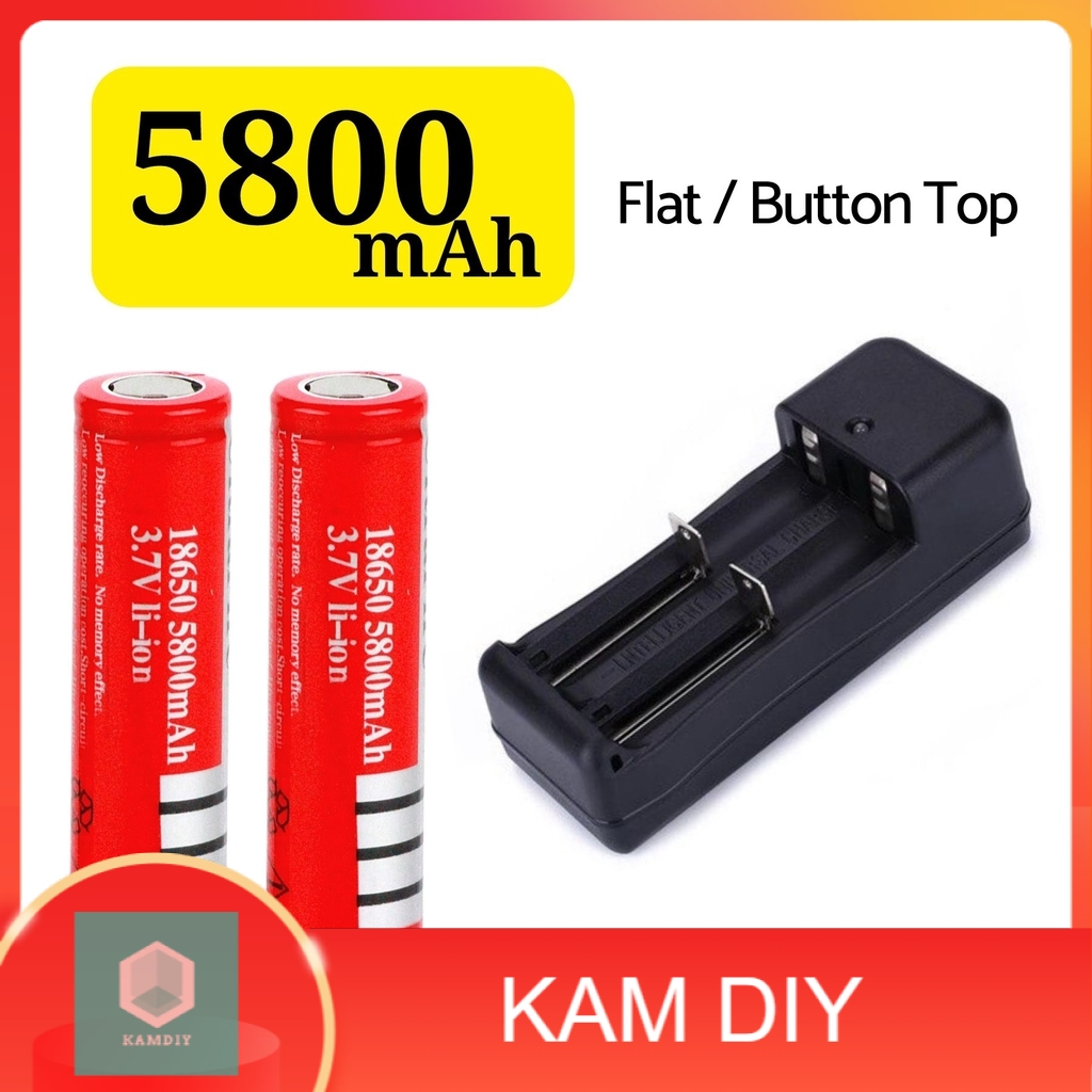 3.7v Rechargeable Battery 18650 5800MAH ( Flat Top / Button Top ) + 2 Slot Charger(2Pcs)