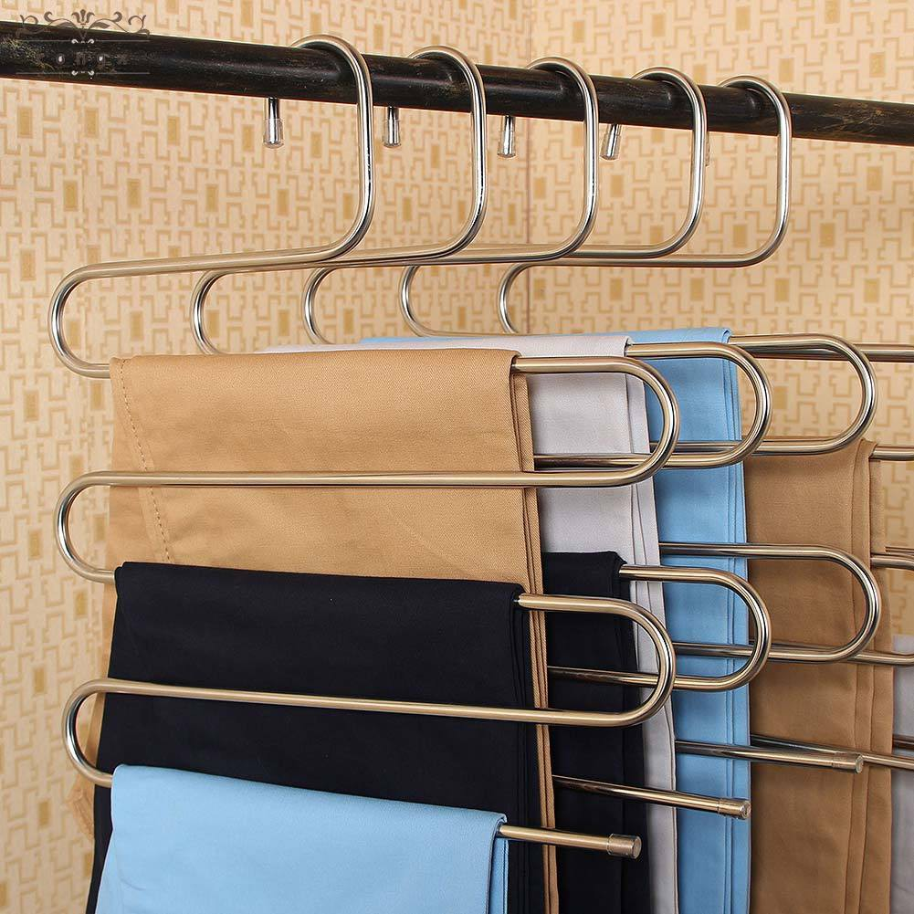 S-Type Pants Hanger Organizer 5 Layers Clothes Trousers Holder Closet Storage