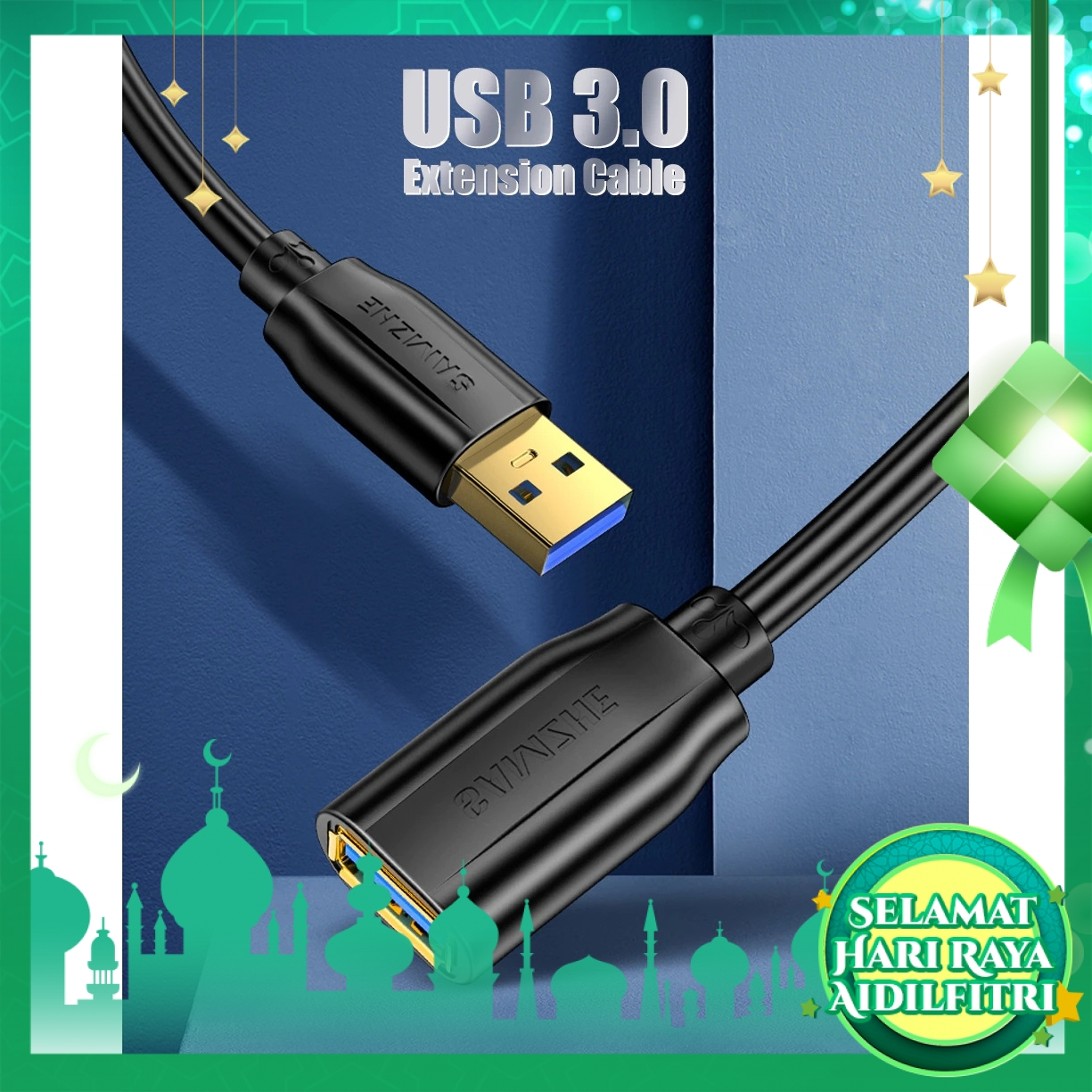 SAMZHE AP-306 USB 3.0 Extension Cable Male to Female USB3.0 High-Speed Data Transmission Cable For PC TV Laptop 0.6M