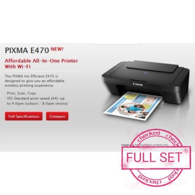 Canon Pixma E470 WiFi AIO 3 In 1 Color Inkjet Printer