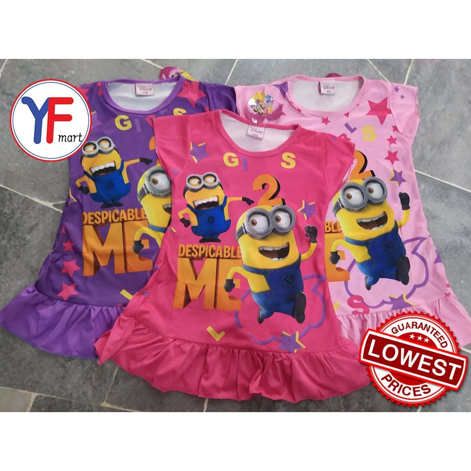 Girl Kids One-piece Dress  (Despicable Me)    Murah ! ! ! ! !      (Ready Stock)