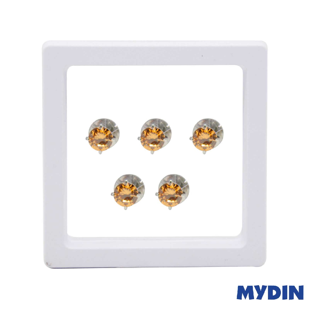 Armaan Button Zircon Orange 8MM STNDC-15 #Raya