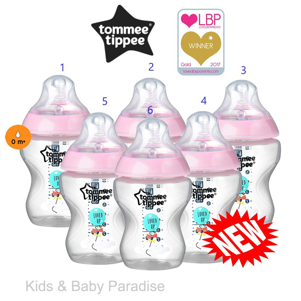 Tommee Tippee CTN  6 x Limited Edition Decorated Bottles 260ml//9oz  0m Bpa free