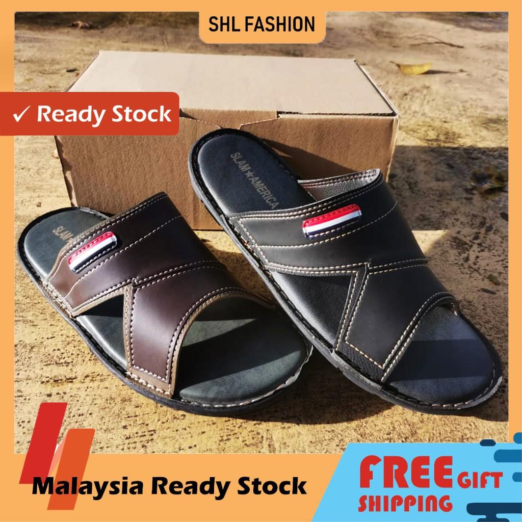 SHL Men PU Leather Sandal Premium Selipar Kasut Lelaki size 6-10【男士拖鞋】-652