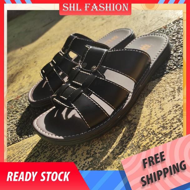 SHL Men PU Leather Sandal Casual Slip On Selipar Kasut Lelaki size 39-44【男士凉鞋】-689
