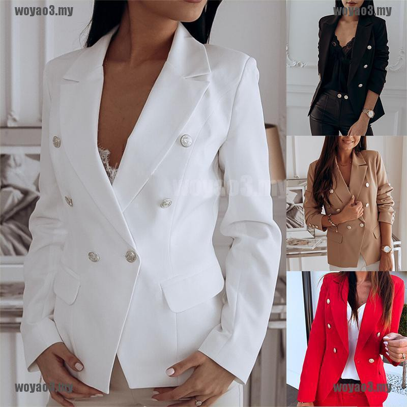 [Mine] Women Fashion Retro Turn-down Collar Slim Fit Blazer Suit Coat Casual Jacket [MY]