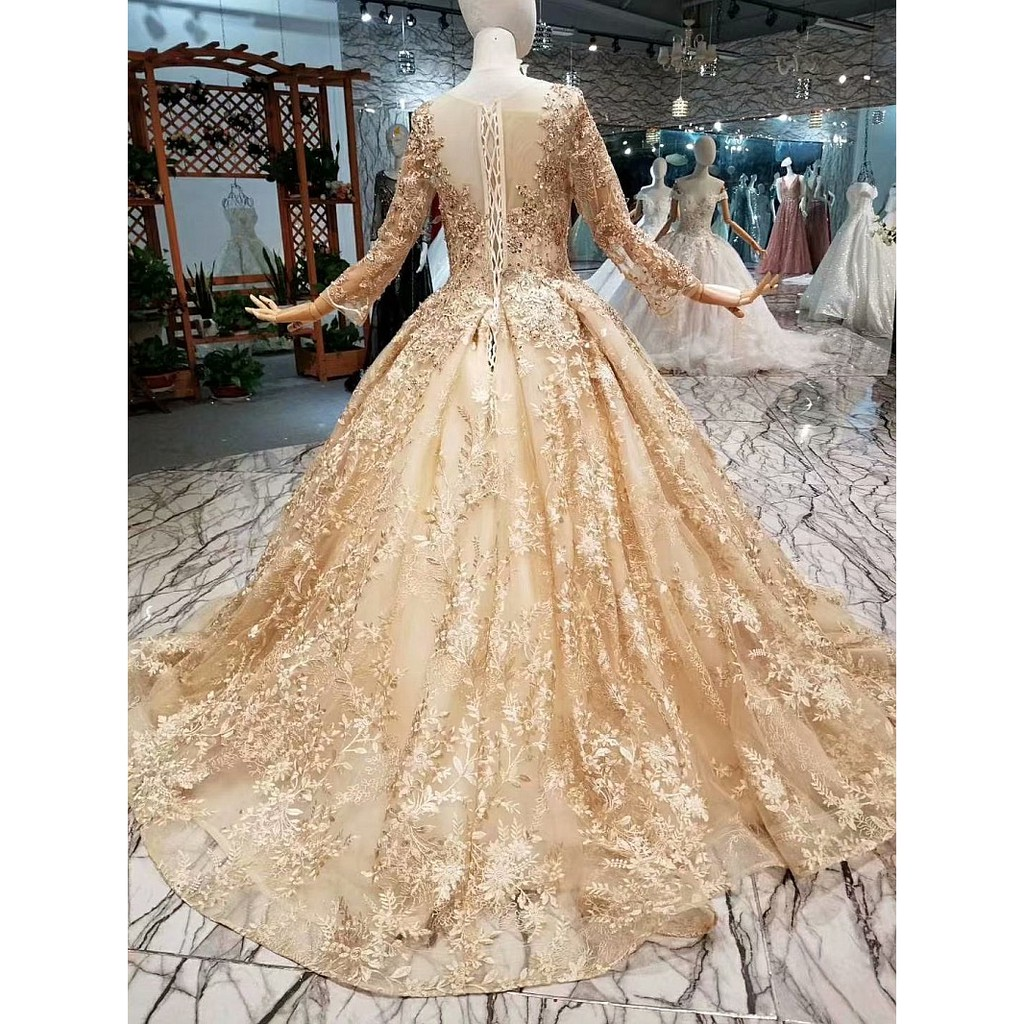 BEAUNIQUE Luxury Wear Champagne Baju Pengantin Vintage Tailor Made Premium  Wedding Gown Bridal Dress Empire Palace Theme