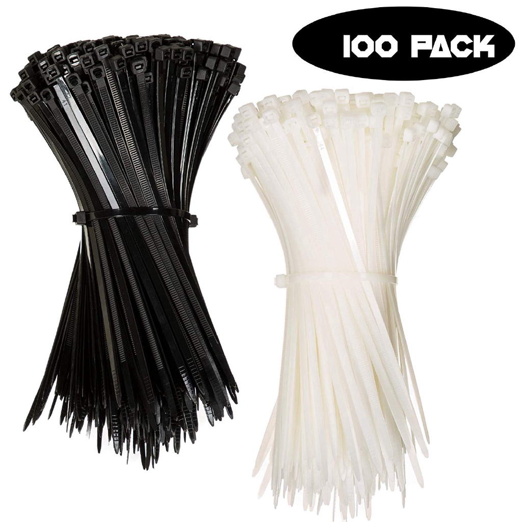 100 White 100mm x 2.5mm CABLE TIES ZIP WRAPS TIES LONG SHORT THICK THIN FASTNERS