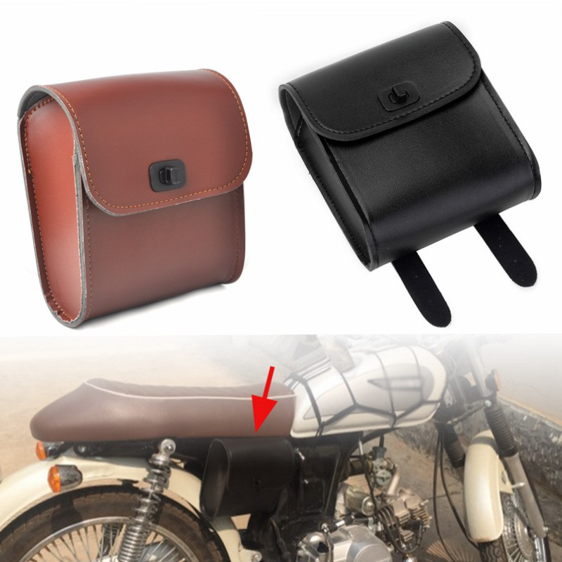 Panniers Motorcycle Custom Cruiser Faux Leather Saddlebags Universal Style Pair