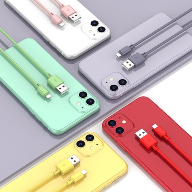 Charging cable, fast charging cable, colorful liquid silicone, 1 meter long chargers cables for iphone usb Type C and Mi
