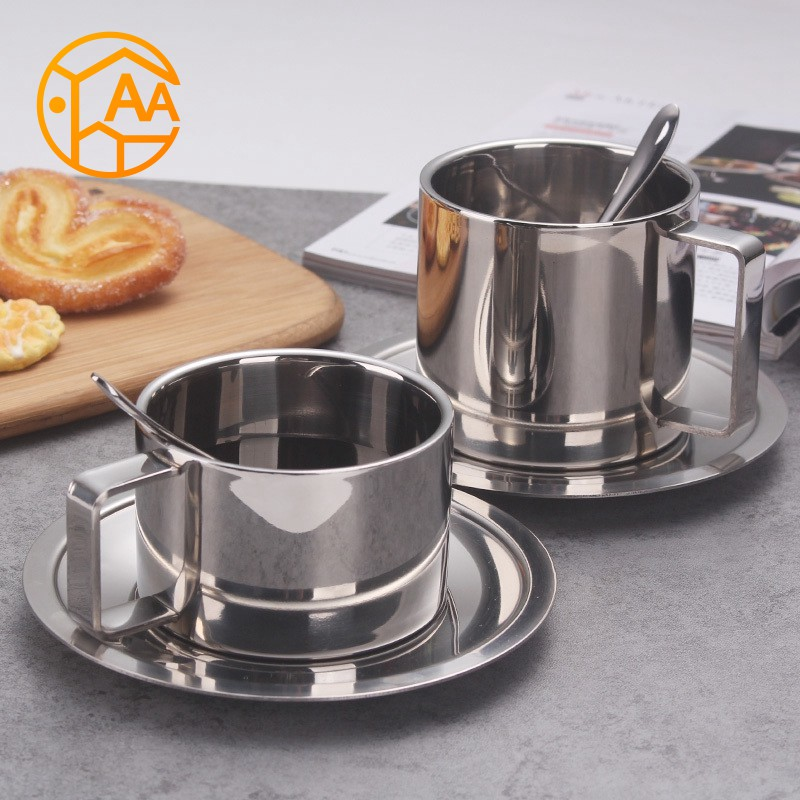 fa70de769f7 ProductImage. ProductImage. Stainless Steel Double Wall Insulated Coffee  Tea Cup With Saucer Spoon Set Home Kitchen