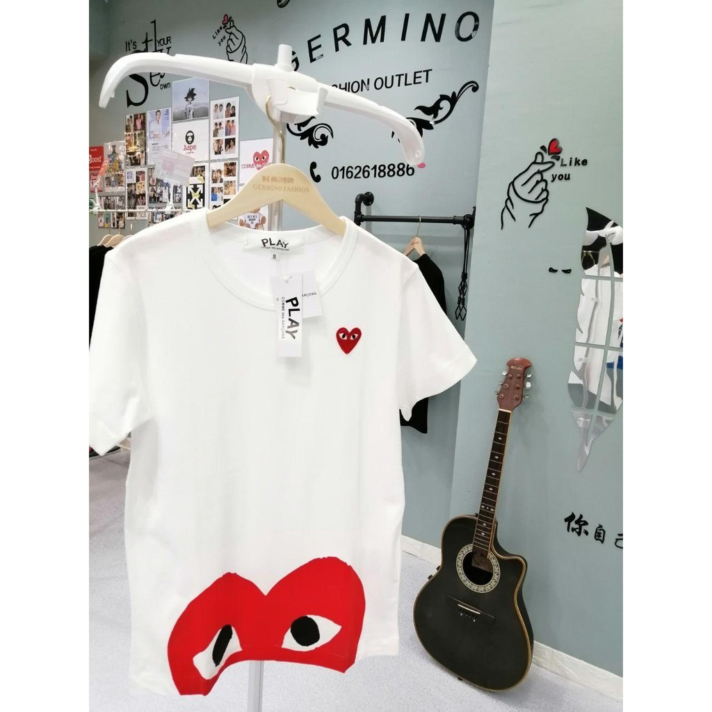 COMME des Garcons 8025W CDG PLAY Premium Heart Pure Cotton T-Shirt
