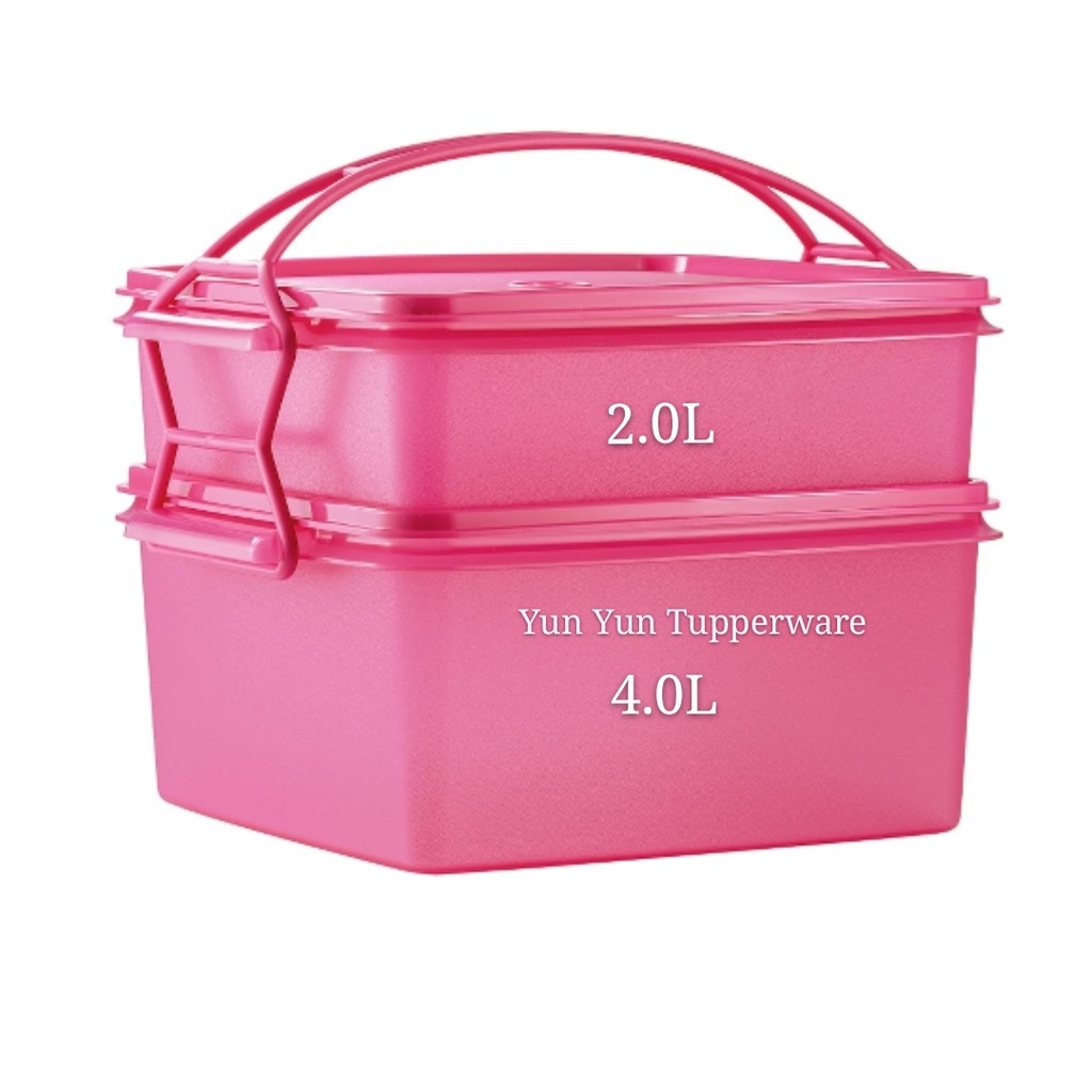 Tupperware Jumbo Goody Box with Cariolier (2) 4L + 2L - Pink or Blue