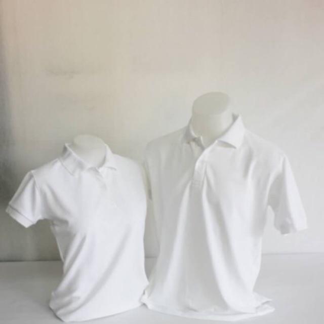 เสื้อโปโล สีขาว ดำ Size M-6XL ชาย ผ้