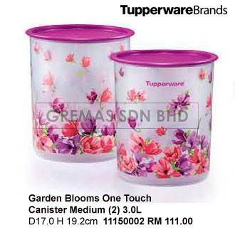 Tupperware 11150002 Garden Blooms One Touch Conister Medium (2) 3.0L