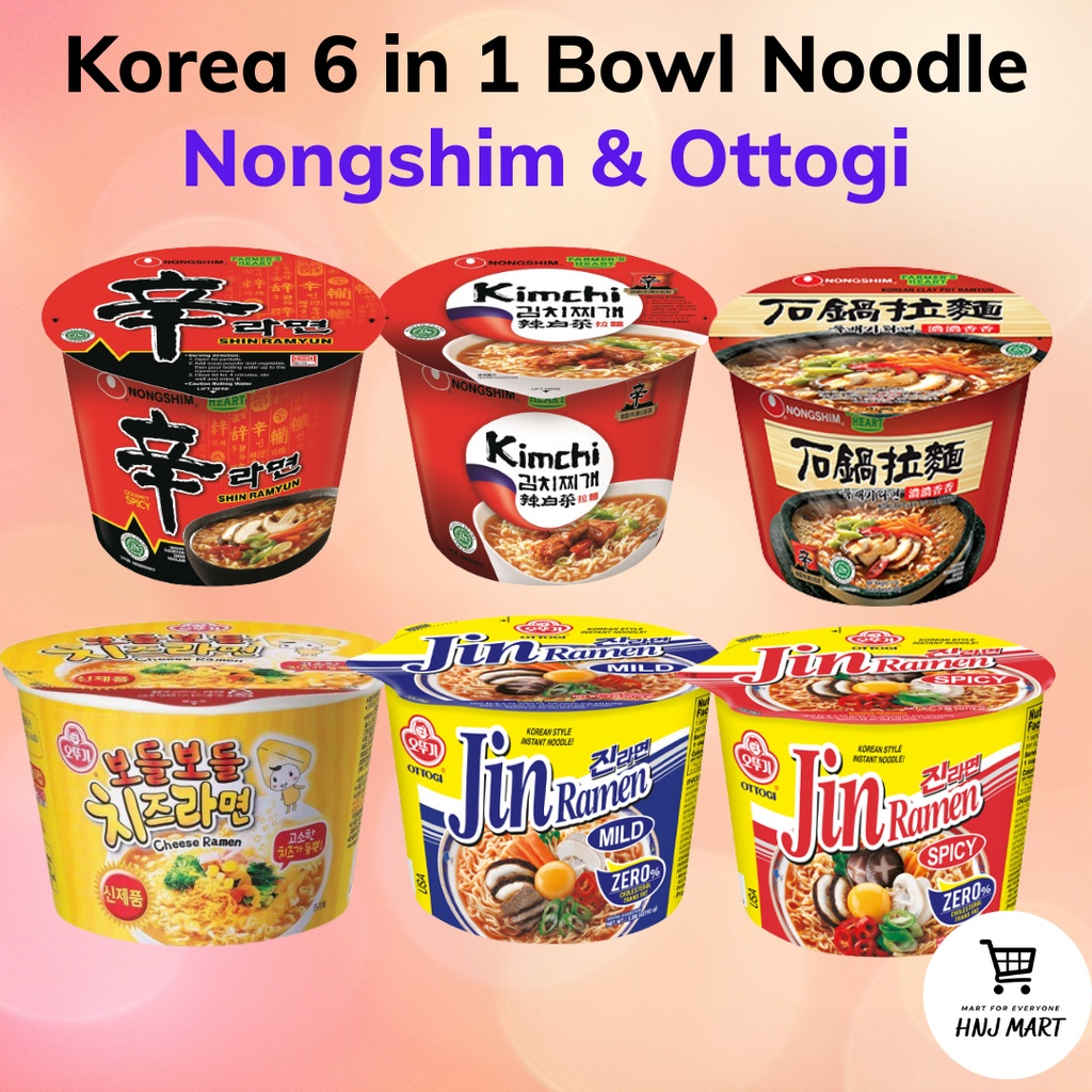 Korea 6 in 1 Bowl Noodle [Nongshim / Ottogi] Ramen Ramyun Instant Noodle
