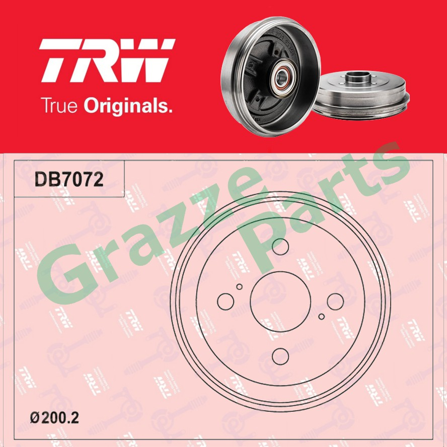 (1 pc) TRW Brake Drum Rear DB7072 for Perodua Viva with ABS (165mm)