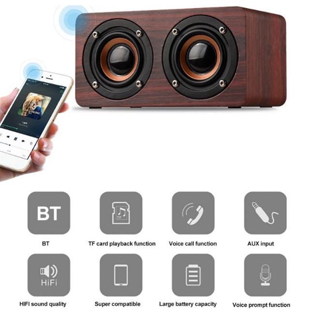 W5 Bluetooth Speaker Portable Wireless Player Wooden HiFi Audio TF Card FM Audio Dual 52mm Aux