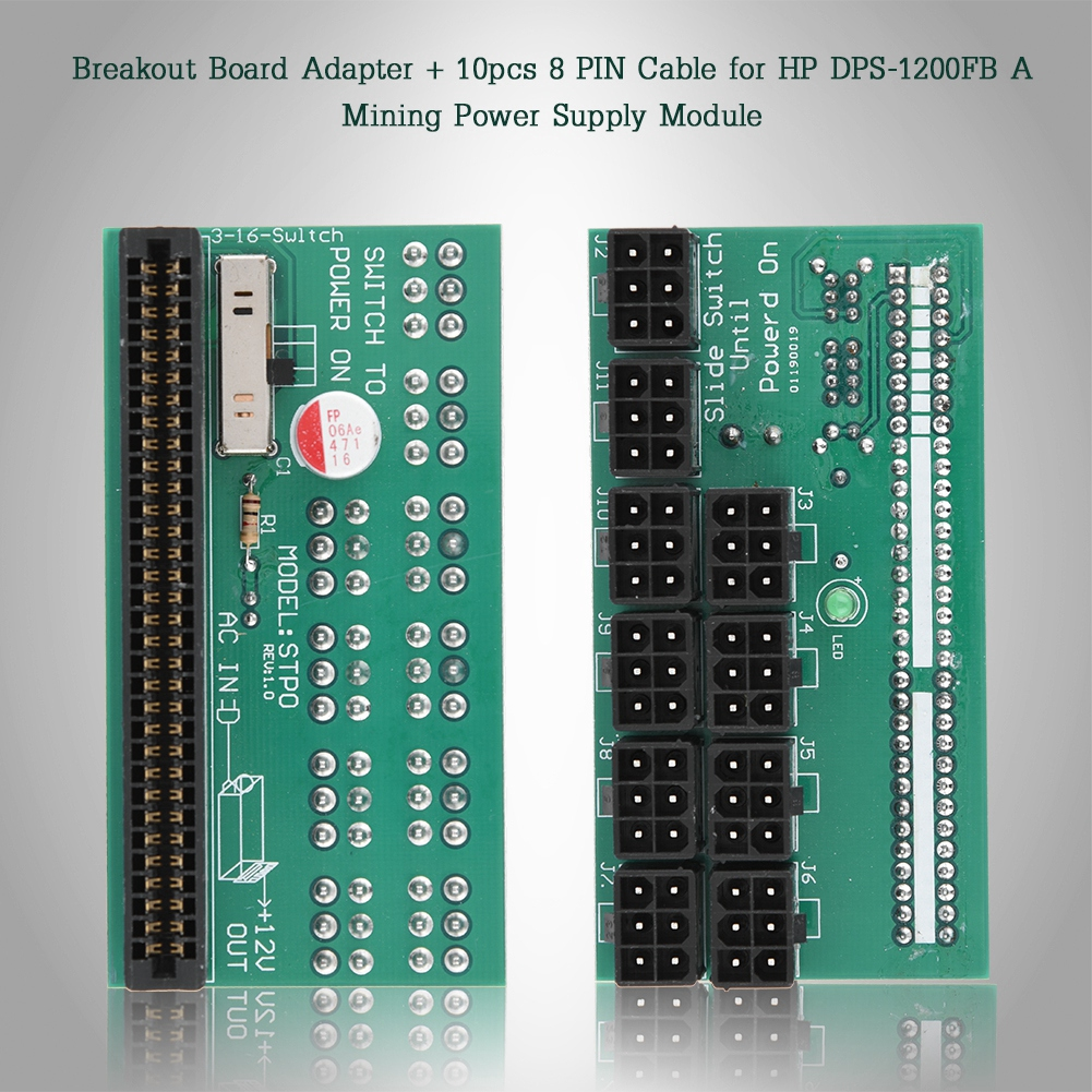 Breakout Board Adapt+10pcs 8 PIN Cable for HP DPS-1200F Mine