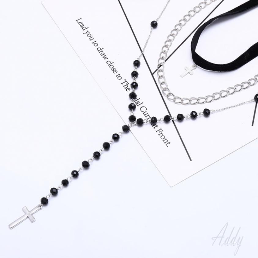 4ac6918f1121b Fashion boho cross crystal necklace collar multi-layer necklace ...