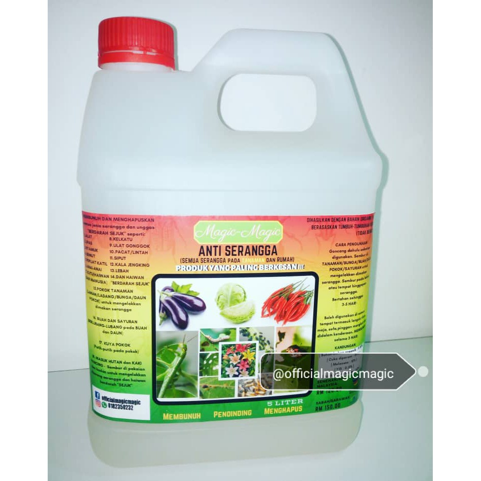 Racun Serangga Pokok Organik Magic magic 5 Liter, Refill Organic Pest  Control , Anti Insects , Repellent Spray 5L
