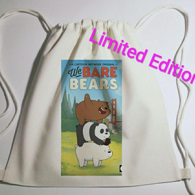 Limited Edition We bare bear Fabric string rope Bag 布艺自制帆布双肩抽绳束口袋简约环保背包图案帆布袋