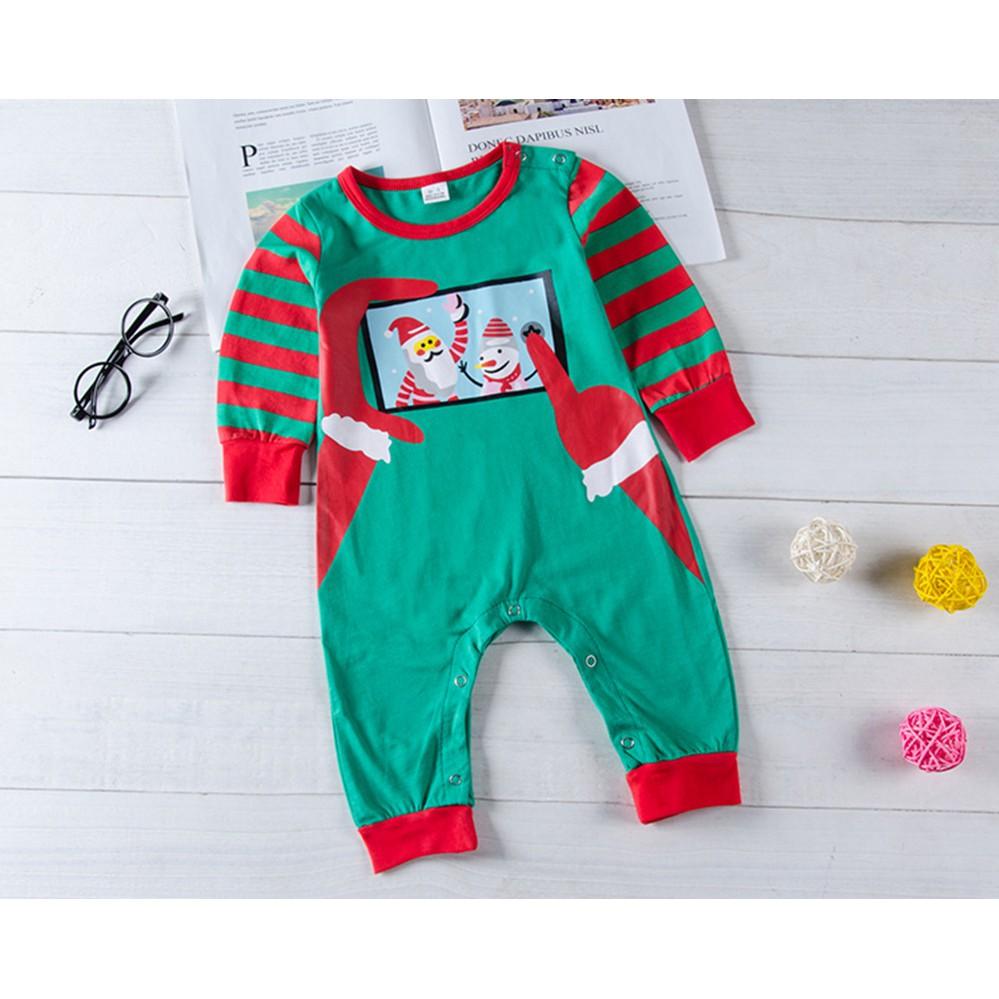 Toddler Baby Boys Bodysuit Short-Sleeve Onesie Christmas Santa Claus Print Outfit Summer Pajamas