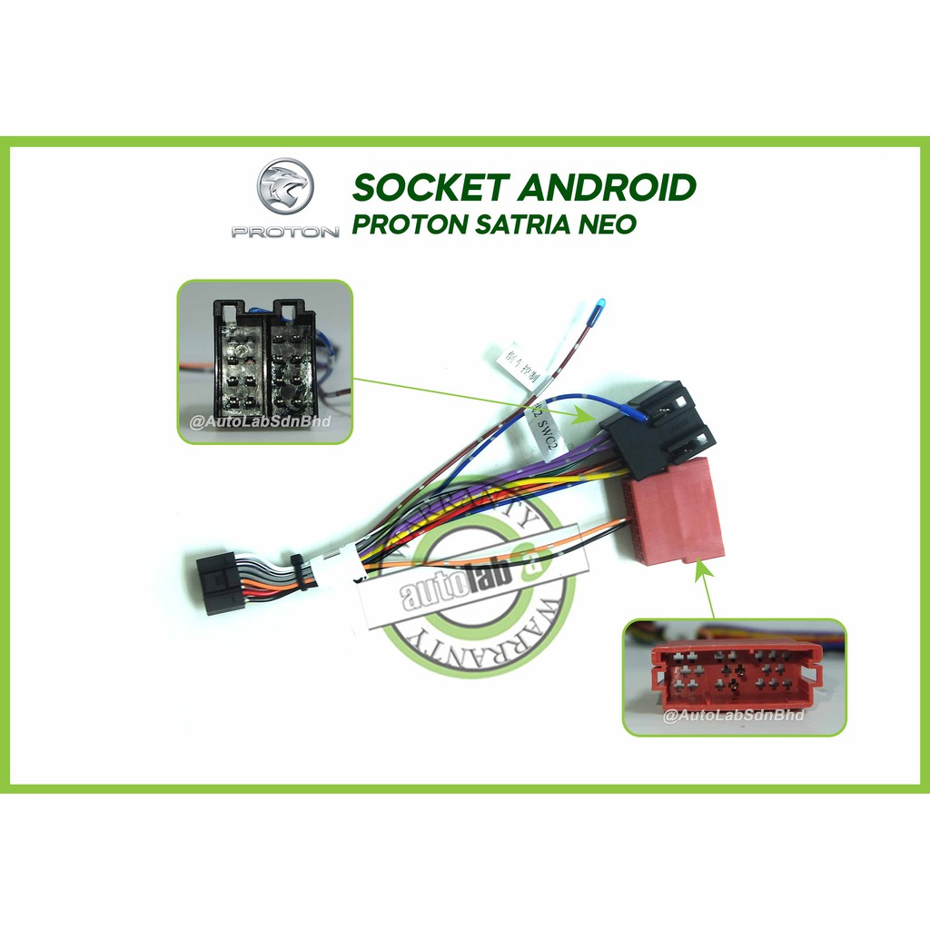 """Car Stereo Power Harness Socket Proton Satria Neo For Android Player 9""""/10"""