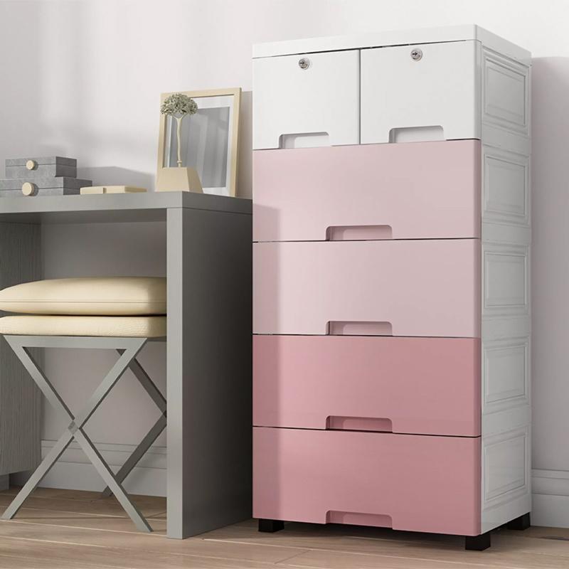 GDeal Plastic Drawer Underwear Five Bucket Toy Storage Cabinet Storage Home Locker Cabinet