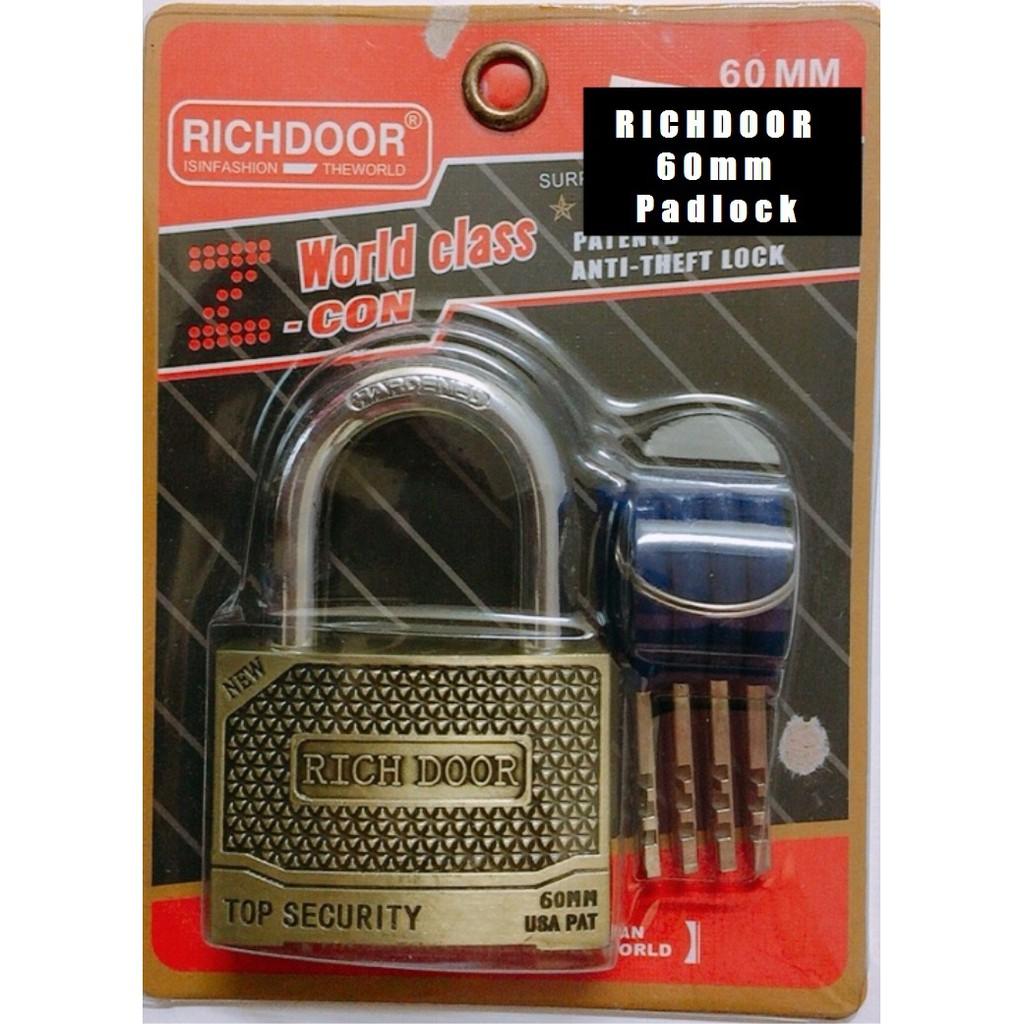 RICHDOOR Zinc Alloy Bronze Heavy Duty Padlock Anti Cut Anti Rust Premium Quality Pad Lock 60mm