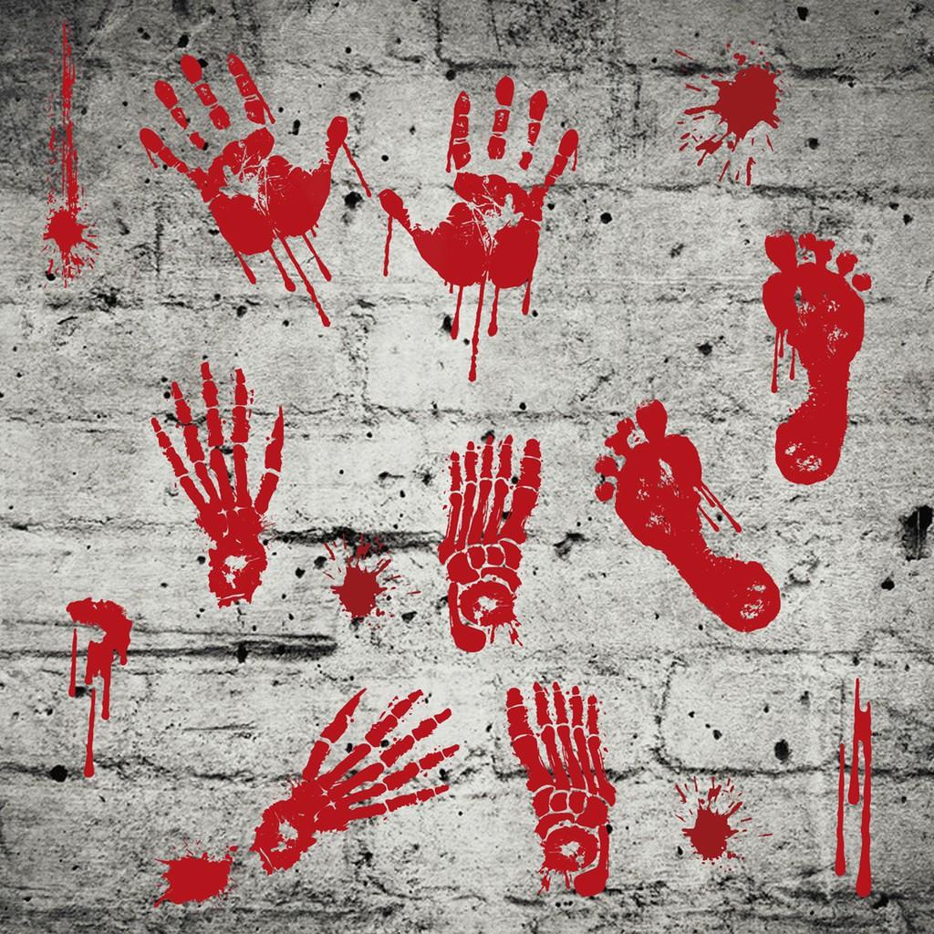 Removable Halloween Scary Bloody Footprint Hand Print Wall Sticker Window Decor