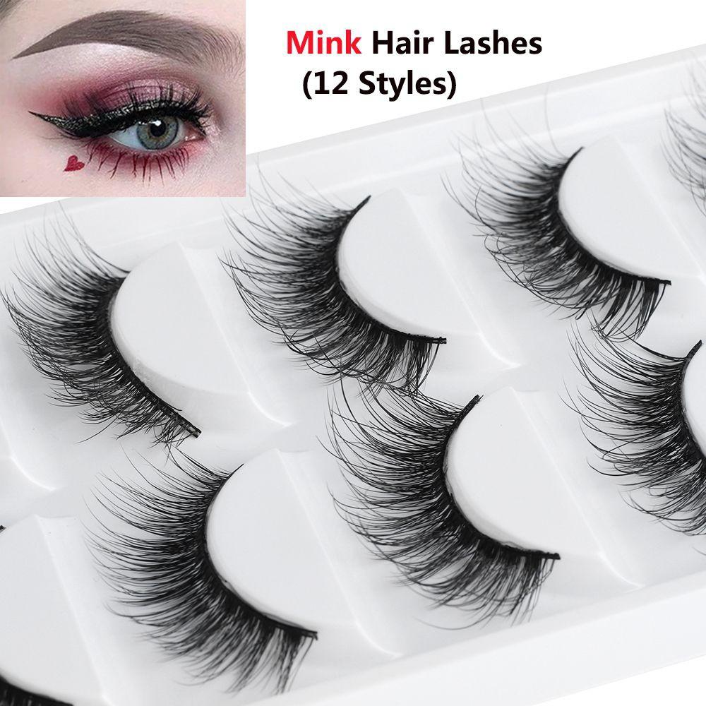 0e819b255e1 Makeup Tools Natural Wispy Cross 3D 100% Mink Hair False Eyelashes Handmade  | Shopee Malaysia