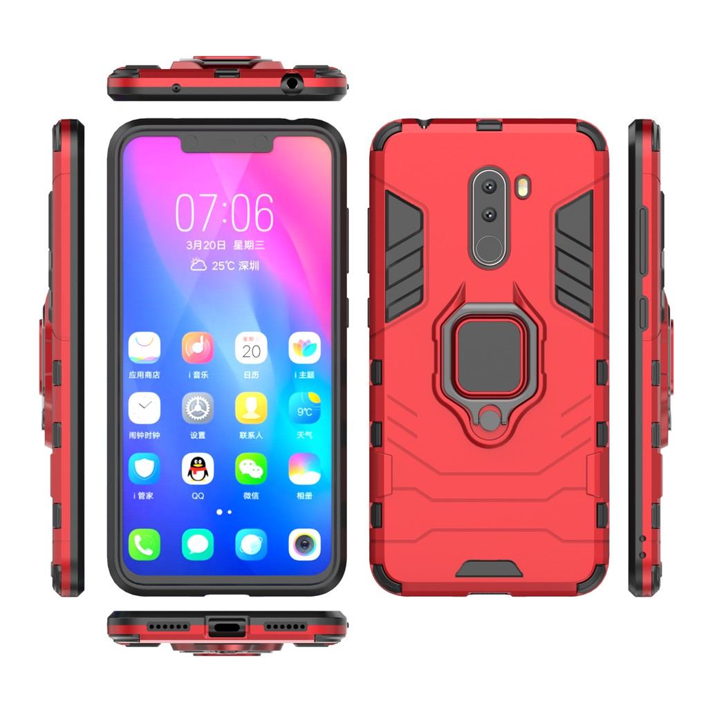 buy popular e7ce4 a640d Xiaomi Pocophone F1 Ironman (Ring) Kickstand Hybrid Back Phone Case Cover