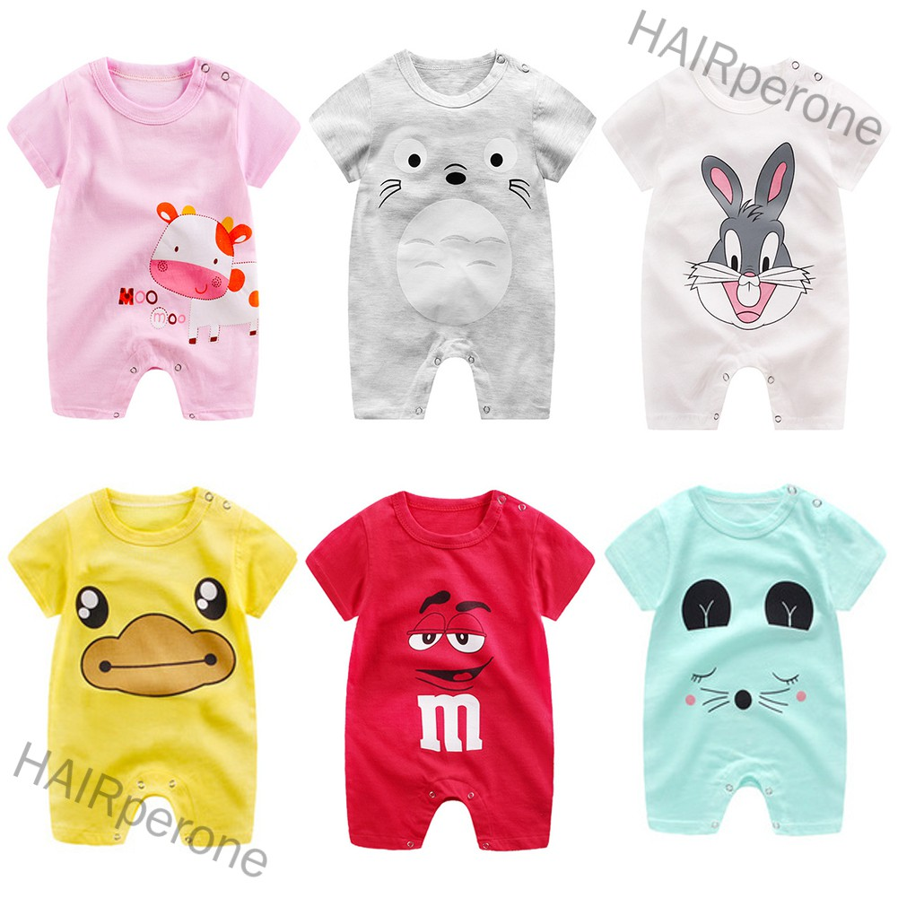 HAIRperone Newborn Infant Baby Boy Girl Cartoon Printing Short Sleeve Romper Bodysuit