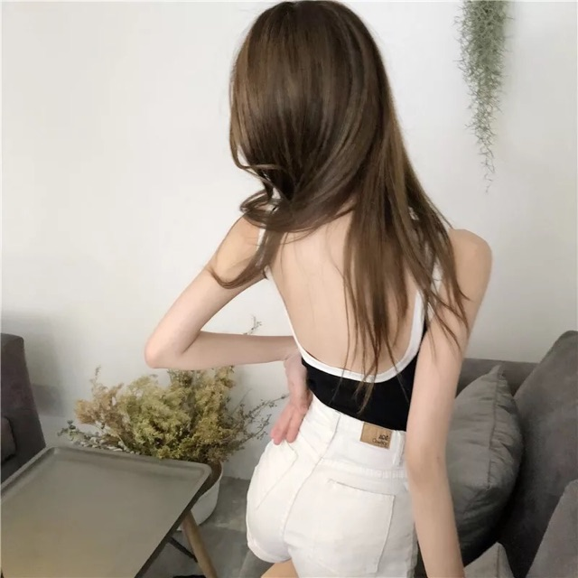 [Free Size]Korean sexy backless top 韩风性感大露背吊带女夏季外穿撞色修身无袖上衣内搭背心