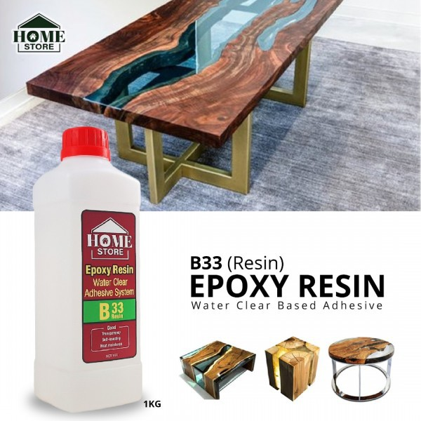 Home Store Epoxy Resin B33 Water Clear Based Adhesive 1KG (Resin)