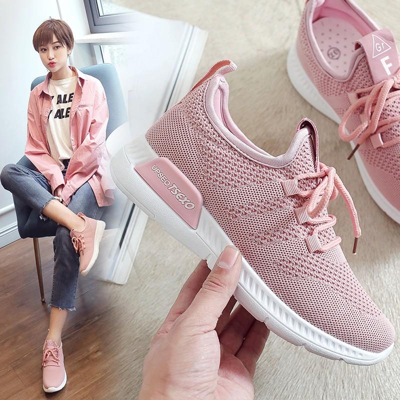 【สต็อกพร้อม】จัดส่งฟรี!EU35-40 Women's Sneakers รองเท้าผ้าใบสานฉลุเดี่ยวบินได้ รองเท้าสีขาว, รองเท้าผู้หญิง, รองเท้า