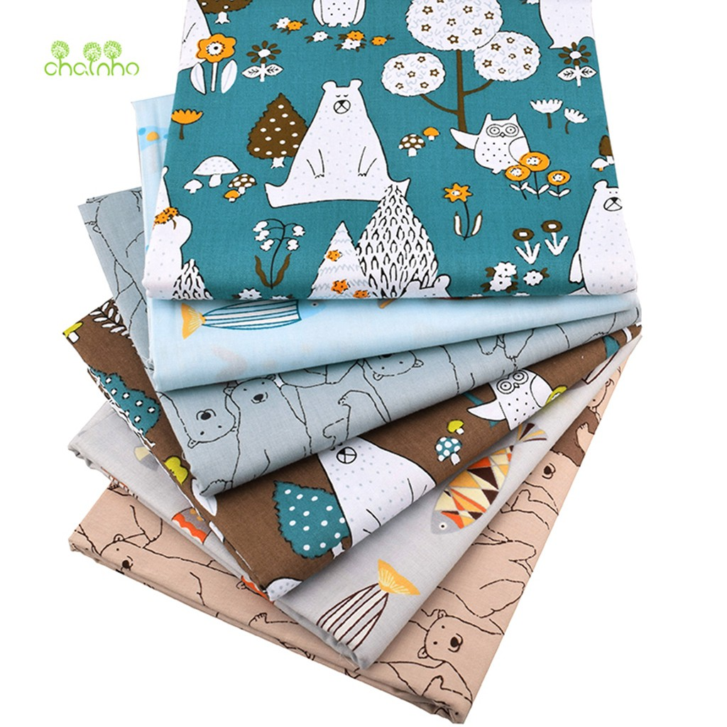 Fabrics Diy Sewing Printed Twill Cotton Patchwork Cloth Quilting Materials 7 Pcs