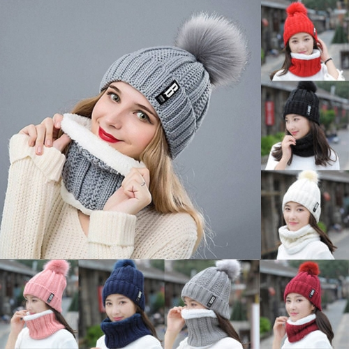 b0d5ae80d W✧✧2Pcs Scarf & Hat Set Women Winter Warm Pompoms Knitted Soft Caps And