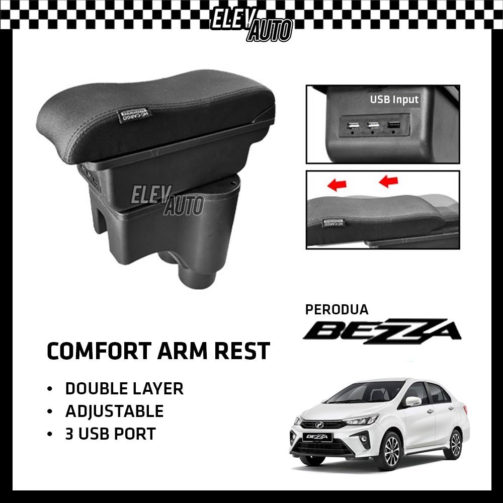 Perodua Bezza Premium Leather Arm Rest ArmRest Double Layer Adjustable (3 USB)
